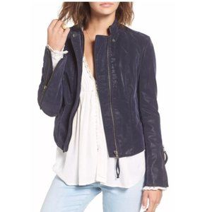 Free People Vegan Suede Leather Navy Moto Jacket